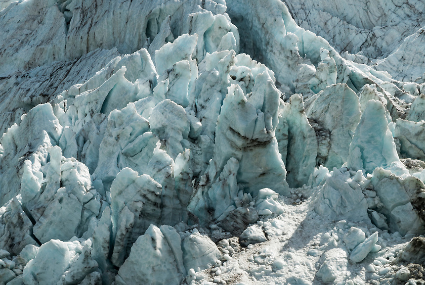 Close-up of ice of the Glacier d'Argentiere, September 2007.