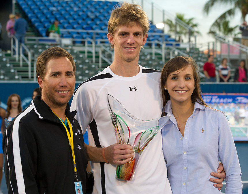 Kevin Anderson (RSA), centre, with his coach and wife after his victory over Marinko Matosevic (AUS)  in their Final match today - Kevin Anderson (RSA) def Marinko Matosevic (AUS) 7-5 7-6(4)..ATP 250 Tennis - 2012 Delray Beach International Tennis Championships - Day 7 - Sunday 04 March 2012 - Delray Beach Stadium & Tennis Center - Delray Beach - Florida - USA..