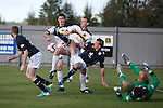 A right stramash in the box as undee keeper Ky;e Letheren and defender Ian Davidson fail to clear a corner kick but Dumbarton duo Aaron Barry and Andy Graham fail to score in front of an open goal