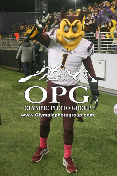 OCT 25, 2014:  Arizona State mascot Sparky entertained fans during the game.  Arizona State defeated Washington at Husky Stadium in Seattle, Washington