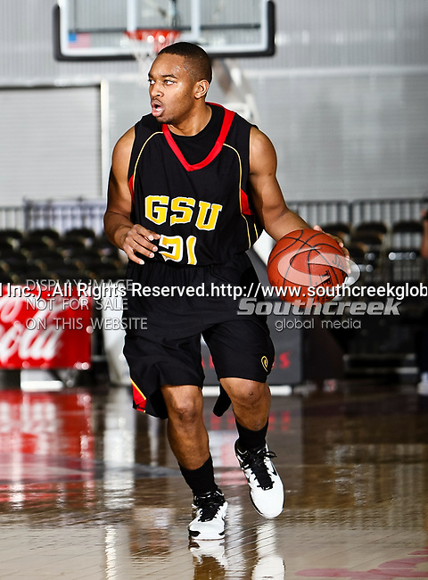 Grambling State Tigers guard Rupert Rose (21) in action during the SWAC Tournament game between the Grambling State Tigers and the Mississippi Valley State Delta Devils at the Special Events Center in Garland, Texas. Grambling State defeats Mississippi Valley 65 to 62