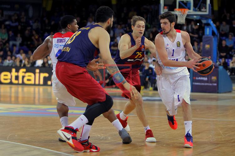 Turkish Airlines Euroleague 2016/2017.<br /> Regular Season - Round 24.<br /> FC Barcelona Lassa vs CSKA Moscow: 61-85.<br /> Kyle Hines, Vitor Faverani, Petteri Koponen &amp; Nando de Colo.