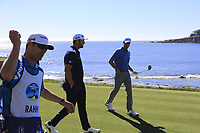Jon Rahm (ESP) and David Abeles walk off the 18th tee at Pebble Beach course during Friday's Round 2 of the 2018 AT&amp;T Pebble Beach Pro-Am, held over 3 courses Pebble Beach, Spyglass Hill and Monterey, California, USA. 9th February 2018.<br /> Picture: Eoin Clarke | Golffile<br /> <br /> <br /> All photos usage must carry mandatory copyright credit (&copy; Golffile | Eoin Clarke)