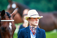 BEL-Lara de Leidekerke-Meier with Alpaga d'Arville during the First Horse Inspection at the 2017 POL-FEI European Eventing Championship, Strzegom, Poland. Wednesday 16 August. Photo Copyright: Libby Law Photography