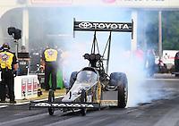 May 15, 2015; Commerce, GA, USA; NHRA top fuel driver Shawn Langdon during qualifying for the Southern Nationals at Atlanta Dragway. Mandatory Credit: Mark J. Rebilas-USA TODAY Sports