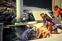 People at the Hilton Waikaloa Village with dolphin; Dolphin Quest
