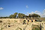 Israel, Carmel Coastal Plain, the Roman dam at Nahal Taninim Nature Reserve