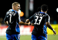 13 September 2008: Ronnie O'Brien of the Earthquakes celebrates with Scott Sealy of the Earthquakes after O'Brien scored a goal during the first half of the game against the Dynamo at Buck Shaw Stadium in Santa Clara, California.   San Jose Earthquakes tied Houston Dynamo, 1-1.