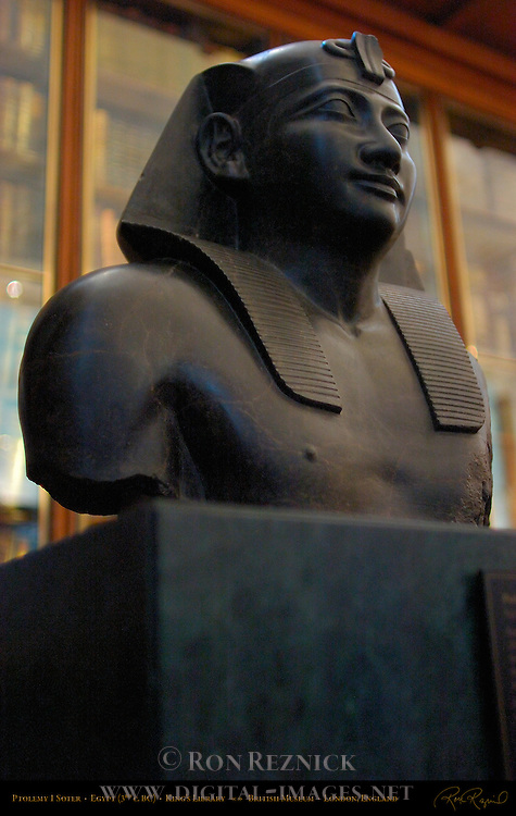 Ptolemy 1 Soter, fragmentary Basalt statue, Egypt 3rd c. BC, King's Library, British Museum, London, England, UK