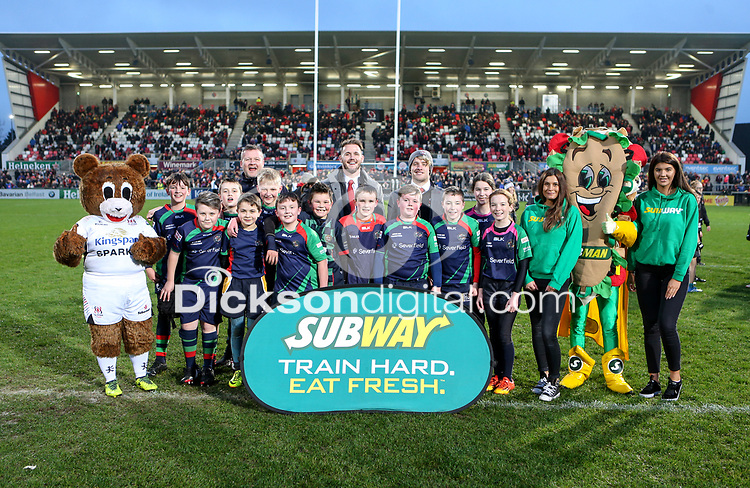 Saturday 1st December 2018 | Ulster vs Cardiff Blues<br /> <br /> Halftime Mini-Rugby during the Guinness PRO14 clash between Ulster Rugby and the Cardiff Blues at Kingspan Stadium, Ravenhill Park, Belfast, Northern Ireland. Photo by John Dickson / DICKSONDIGITAL