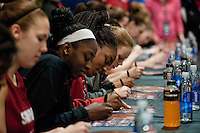 INDIANAPOLIS, IN - APRIL 2, 2011: Nnemkadi Ogwumike during the post-practice autograph session at Conseco Fieldhouse at the NCAA Final Four in Indianapolis, IN on April 1, 2011.