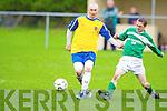 Classic FC's Gary Keane and Castleisland's Donacha Ryan.