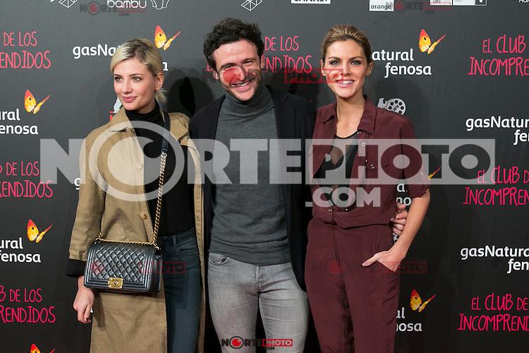 Miriam Giovanelli, Diego Martin and Amaia Salamanca attend the Premiere of the movie &quot;El club de los incomprendidos&quot; at callao Cinema in Madrid, Spain. December 1, 2014. (ALTERPHOTOS/Carlos Dafonte) /NortePhoto<br /> /NortePhoto