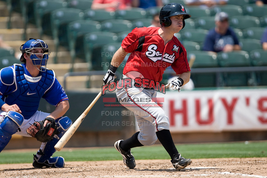 Nashville Sounds third baseman Taylor Green #3 follows through against the Round Rock Express in Pacific Coast League baseball on May 9, 2011 at the Dell Diamond in Round Rock, Texas. (Photo by Andrew Woolley / Four Seam Images)