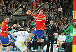 25.01.2013 Barcelona, Spain. IHF men's world championship, Semi-final. Picture show Aitor Ariño  in action during game between Spain vs Slovenia at Palau St. Jordi