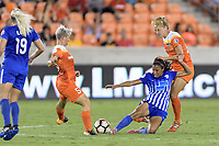 Houston, TX - Saturday July 22, 2017: Margaret Purce, Janine Van Wyk, and Cami Privett during a regular season National Women's Soccer League (NWSL) match between the Houston Dash and the Boston Breakers at BBVA Compass Stadium.