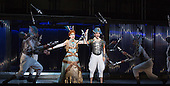 London, UK. 2 March 2016. Rebecca Bottone as Queen Tye and Anthony Roth Costanzo as Akhnaten with members of Gandini Juggling. English National Opera (ENO) dress rehearsal of the Philip Glass opera Akhnaten at the London Coliseum. 7 performances from 4  to 18 March 2016. Directed by Phelim McDermott with Anthony Roth Costanzo as Akhnaten, Emma Carrington as Nefertiti, Rebecca Bottone as Queen Tye, James Cleverton as Horemhab, Clive Bayley as Aye, Colin Judson as High Priest of Amon and Zachary James as Scribe. Skills performances by Gandini Juggling.