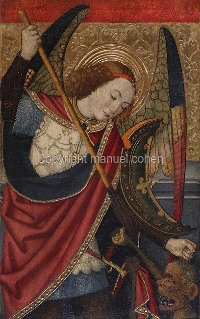 Archangel St Michael killing the devil with a spear, on the right section of the Altarpiece of the Transfiguration of Christ, late 15th century, by Jaume Huguet, 1412-92, in the Cathedral of St Mary, designed by Benito Dalguayre in Catalan Gothic style and begun 1347 on the site of a Romanesque cathedral, consecrated 1447 and completed in 1757, Tortosa, Catalonia, Spain. The altarpiece was originally in the Transfiguration Chapel but is now in the Cathedral Museum. The cathedral has 3 naves with chapels between the buttresses and an ambulatory with radial chapels. Picture by Manuel Cohen
