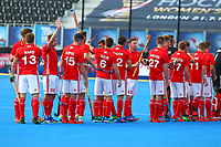 England players line up for the national anthem during the Hockey World League Semi-Final match between England and Argentina at the Olympic Park, London, England on 18 June 2017. Photo by Steve McCarthy.