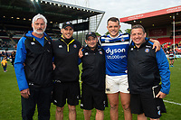 Bath Director of Rugby Todd Blackadder, first team coaches Girvan Dempsey, Darren Edwards and Toby Booth and Zach Mercer pose for a photo after the match. Gallagher Premiership match, between Leicester Tigers and Bath Rugby on May 18, 2019 at Welford Road in Leicester, England. Photo by: Patrick Khachfe / Onside Images