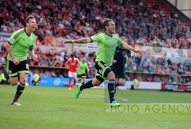 Billy Sharp of Sheffield United celebrates scoring his goal to make it 2-0<br /> - English League One - Swindon Town vs Sheffield Utd - County Ground Stadium - Swindon - England - 29th August 2015  <br /> --------------------