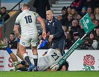 Twickenham, Surrey. UK.  Chris VUI, touches down despite Ben YOUNGS tackle.,during the England vs Samoa, Autumn International. Old Mutual Wealth Series. RFU Stadium, Twickenham. Surrey, England.<br /> <br /> Saturday  25.11.17  <br /> <br /> [Mandatory Credit Peter SPURRIER/Intersport Images]