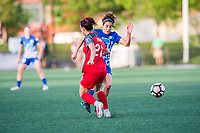 Boston, MA - Friday May 19, 2017: Meghan Cox and Angela Salem during a regular season National Women's Soccer League (NWSL) match between the Boston Breakers and the Portland Thorns FC at Jordan Field.