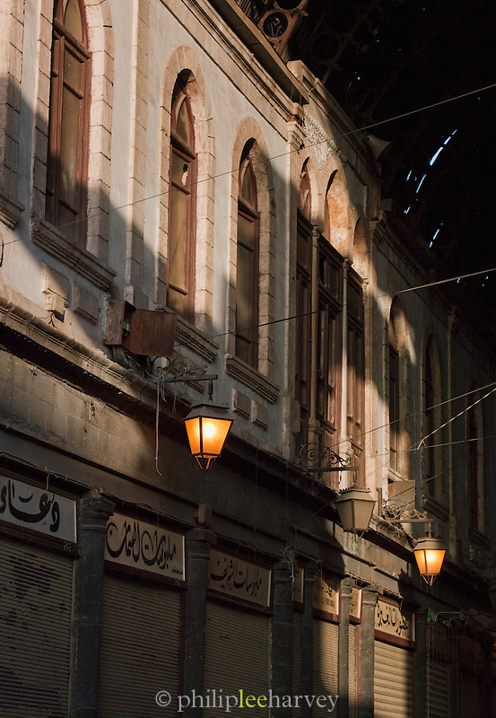 Inside the Al-Hamidiyah Souq at dawn, before the stalls open, in the old city Damascus, Syria