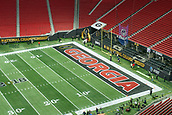 January 8th 2018, Atlanta, GA, USA; A general view of the Georgia Bulldogs endzone is seen at the Mercedes-Benz Stadium prior to the start of the College Football Playoff National Championship Game between the Alabama Crimson Tide and the Georgia Bulldogs on January 8, 2018 at Mercedes-Benz Stadium in Atlanta, GA.