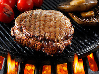 Beef fillet steaks & mushrooms being pan fried on a bbq. Meat food photos, pictures & images.