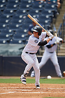 Tampa Tarpons first baseman Brandon Wagner (33) at bat during a game against the Lakeland Flying Tigers on April 8, 2018 at George M. Steinbrenner Field in Tampa, Florida.  Lakeland defeated Tampa 3-1.  (Mike Janes/Four Seam Images)