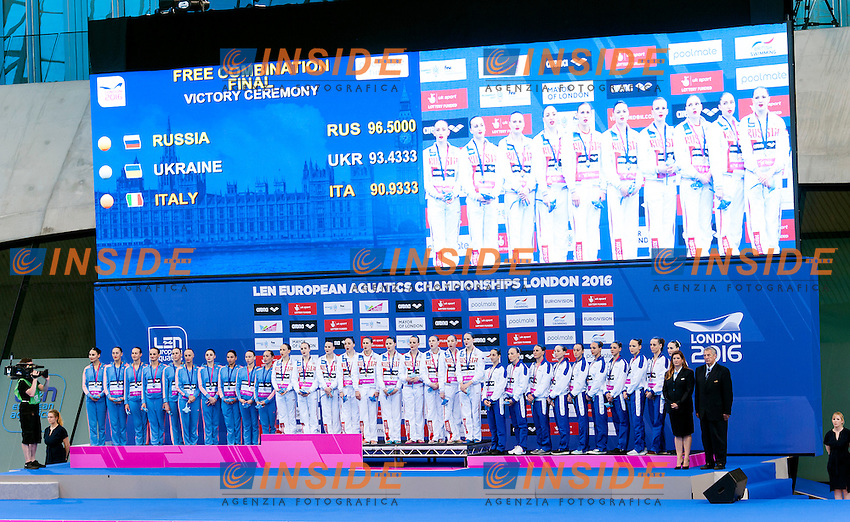 UKRAINE Silver medal, RUSSIA Gold Medal, ITALY Bronze medal <br /> Free Combination Final <br /> London, Queen Elizabeth II Olympic Park Pool <br /> LEN 2016 European Aquatics Elite Championships <br /> Synchronized Swimming <br /> Day 04 12-05-2016<br /> Photo Andrea Staccioli/Deepbluemedia/Insidefoto