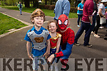 Donnchadh O'Regan, Molly and Eoin O'Shea at the Family Fancy Dress Charity Fun Run in aid of Down Syndrome Ireland in the Tralee Town park on Saturday.