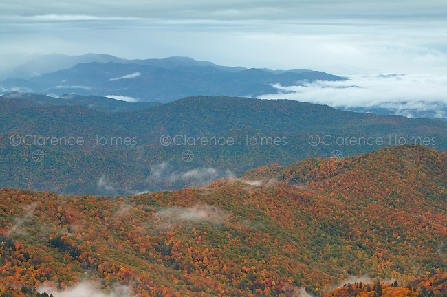 Early morning clouds over mountain slopes covered by fall foliage, Great Smoky Mountains National Park