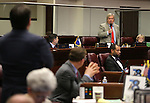 Nevada Sen. Tick Segerblom, D-Las Vegas, speaks out in opposition to a bill that included $1 million in funding for a new execution chamber during Senate floor discussion in the final hours of the session at the Legislative Building in Carson City, Nev., on Monday, June 1, 2015. <br /> Photo by Cathleen Allison