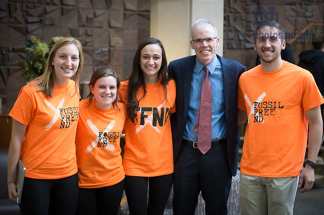 Apr. 12, 2016; Bill McKibben, author, professor and environmentalist, poses for a photo with students before giving the 22nd annual Hesburgh Lecture in Ethics & Public Policy. (Photo by Matt Cashore/University of Notre Dame)