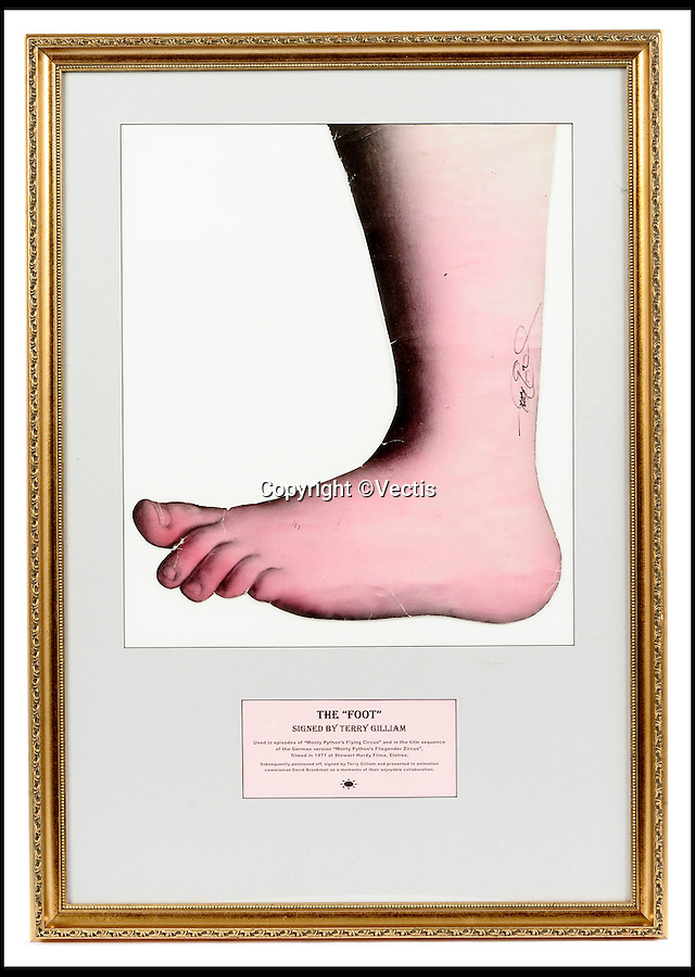 BNPS.co.uk (01202 558833)<br /> Pic: Vectis/BNPS<br /> <br /> ***Please Use Full Byline***<br /> <br /> The famous foot from the opening sequence of Monty Python's Flying Circus has emerged for sale - just as the original members of the comedy troupe perform live for the final time.<br /> <br /> The foot became a symbol of the Pythons after featuring in the surreal opening titles squashing various things.<br /> <br /> It appears from the top of the screen to stamp on a man in a suit with flowers growing out of his head and then a banner with the show's name on it to the sound of someone blowing a raspberry.<br /> <br /> Terry Gilliam, the group's genius animator, had adapted the foot from a painting of Cupid by 16th century artist Agnolo Bronzino and it was used throughout the show from 1969 to 1974.