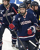 Jacob Poe (UConn - 5) - The Boston College Eagles defeated the visiting University of Connecticut Huskies 3-2 on Saturday, January 24, 2015, at Kelley Rink in Conte Forum in Chestnut Hill, Massachusetts.