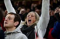 Sheffield United fans celebrate their side's third goal<br /> <br /> Photographer Alex Dodd/CameraSport<br /> <br /> The Premier League - Sheffield United v Manchester United - Sunday 24th November 2019 - Bramall Lane - Sheffield<br /> <br /> World Copyright © 2019 CameraSport. All rights reserved. 43 Linden Ave. Countesthorpe. Leicester. England. LE8 5PG - Tel: +44 (0) 116 277 4147 - admin@camerasport.com - www.camerasport.com