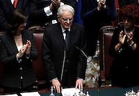 Il nuovo Presidente della Repubblica Sergio Mattarella, affiancato dalla Presidente della Camera Laura Boldrini, a sinistra, e dalla Vicepresidente del Senato Valeria Fedeli, tiene il giuramento durante una cerimonia alla Camera dei Deputati, Roma, 3 febbraio 2015.<br /> Italian newly elected President Sergio Mattarella, flanked by Lower Chamber President Laura Boldrini, left, and Senate's deputy Presidente Valeria Fedeli, attends the swearing ceremony at the Lower Chamber in Rome, 3 February 2015.<br /> UPDATE IMAGES PRESS/Isabella Bonotto