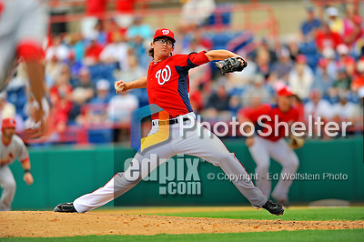 7 March 2012: Washington Nationals catcher Tyler Clippard in action against the St. Louis Cardinals at Space Coast Stadium in Viera, Florida. The teams battled to a 3-3 tie in Grapefruit League Spring Training action. Mandatory Credit: Ed Wolfstein Photo