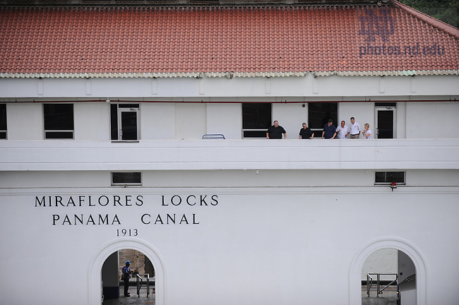 Latin American & Caribbean reunion, 2008: Panama Canal Museum tour. ND Group stands on the Miraflores Locks...Photo by Matt Cashore/University of Notre Dame