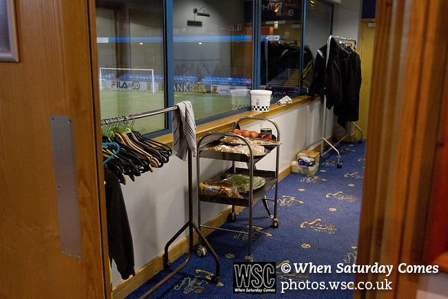 Macclesfield Town 0 Gateshead 4, 22/02/2013. Moss Rose, Football Conference. A tray of food for guests in the hospitality suite before Macclesfield Town host Gateshead at Moss Rose in a Conference National fixture. The visitors from the North East who were in the relegation zone, shocked Macclesfield with four first half goals and won 4-0 in front of 1467 fans. Both teams were former members of the Football league, with Macclesfield dropping out in 2012. Photo by Colin McPherson.
