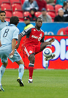 Toronto FC defender Nana Attakora #3 in action during an MLS game between Sporting Kansas City and the Toronto FC at BMO Field in Toronto on June 4, 2011..The game ended in a 0-0 draw...