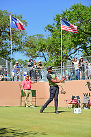 Tony Finau (USA) watches his tee shot on 17 during round 4 of the Valero Texas Open, AT&amp;T Oaks Course, TPC San Antonio, San Antonio, Texas, USA. 4/23/2017.<br /> Picture: Golffile | Ken Murray<br /> <br /> <br /> All photo usage must carry mandatory copyright credit (&copy; Golffile | Ken Murray)