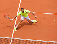 France, Paris, 30.05.2014. Tennis, French Open, Roland Garros, Marin Cilic (CRO) in his match against Novak Djokovic (SRB)<br /> Photo:Tennisimages/Henk Koster