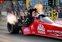 May 31, 2019; Joliet, IL, USA; NHRA top fuel driver Doug Kalitta during qualifying for the Route 66 Nationals at Route 66 Raceway. Mandatory Credit: Mark J. Rebilas-USA TODAY Sports