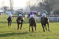 Race winner Nozic ridden by Gemma Gracey-Davison (L) on the way to the finish in the Plumpton Annual Members Handicap Chase