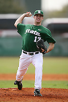 February 22, 2009:  Pitcher Anthony Dunn (17) of Michigan State University during the Big East-Big Ten Challenge at Naimoli Complex in St. Petersburg, FL.  Photo by:  Mike Janes/Four Seam Images