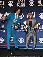 07 April 2019 - Las Vegas, NV - Dan+Shay, Day Smyers, Shay Mooney. 54th Annual ACM Awards Press Room at MGM Grand Garden Arena. Photo Credit: MJT/AdMedia